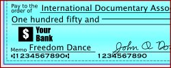 Make checks payable to the IDA and write Freedom Dance in the memo field